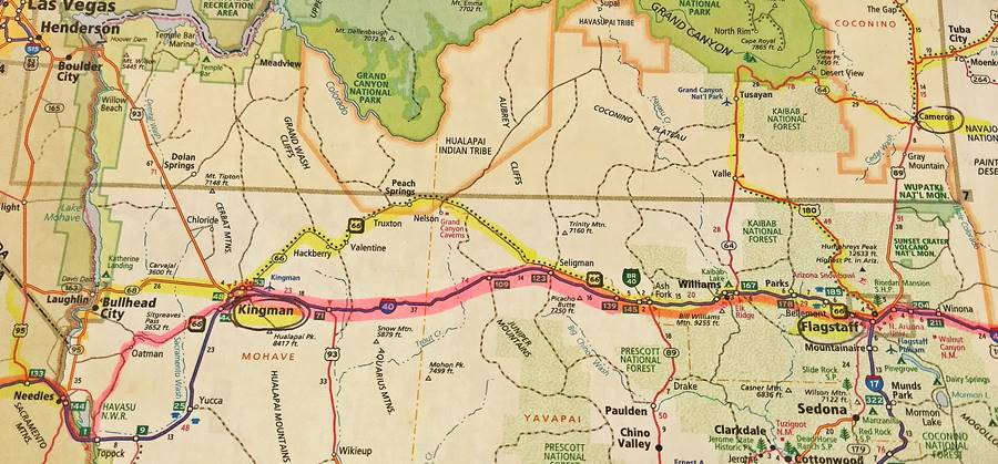 Highlighted Route 66 map