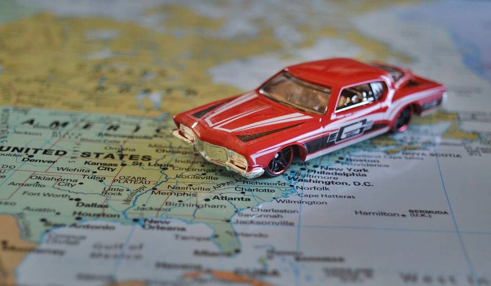 car and map, a road trip