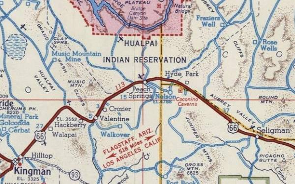 route 66 from seligman to kingman in a 1951 map arizona