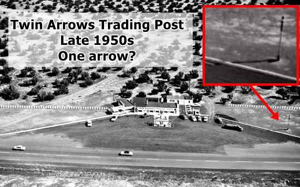 air view of the trading post showing only one arrow