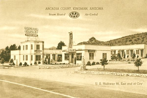 Ancient postcard showing the Arcadia Court (motel) in Kingman, Route 66,  Arizona