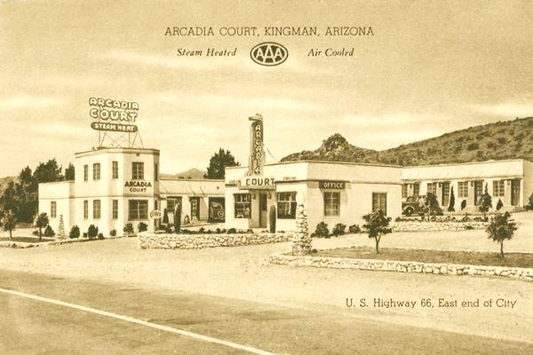 Ancient postcard showing the Arcadia Court (motel) in Kingman, Route 66, Arizona