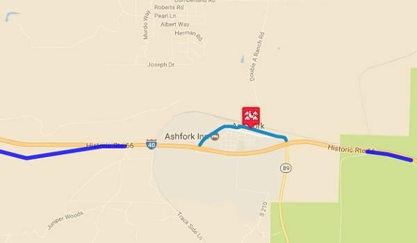 Map of US 66 in Ash Fork AZ