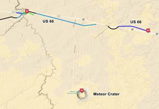 Map of US 66 in Barringer Crater AZ