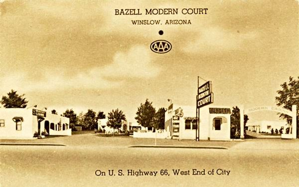 A vintage 1940s postcard of vintage Bazell Modern Court on Route 66 in Winslow, AZ
