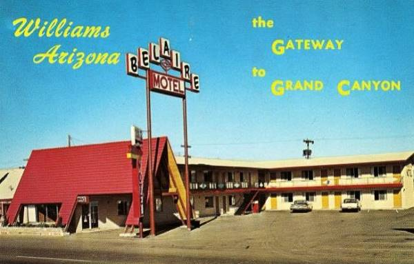 vintage 1960s postcard of the Bel Aire Motel in Williams, Route 66, Arizona