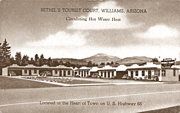 1940s postcard of Bethel's Tourist Court in Williams AZ, Route 66