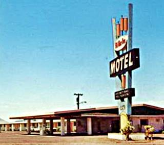 Detail of Bill-Mar-Den Motel's sign in the 1960s