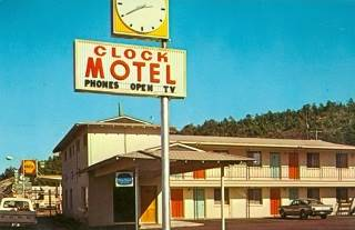 The Clock Motel in a vintage postcard