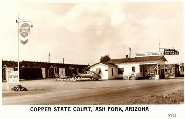 vintage postcard of the Copper State Motel in Ash Fork, Route 66,  Arizona