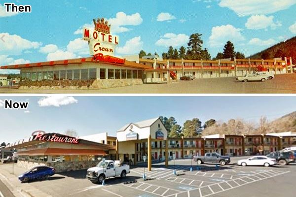 1960 postcard and current view of restaurant and former Crown Motel