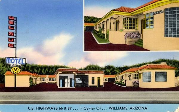 1950 postcard of the Del Sue motel, Williams, Route 66, Arizona