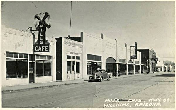 vintage postcard showing downtown Williams, Route 66, Arizona in the 1930s -40s