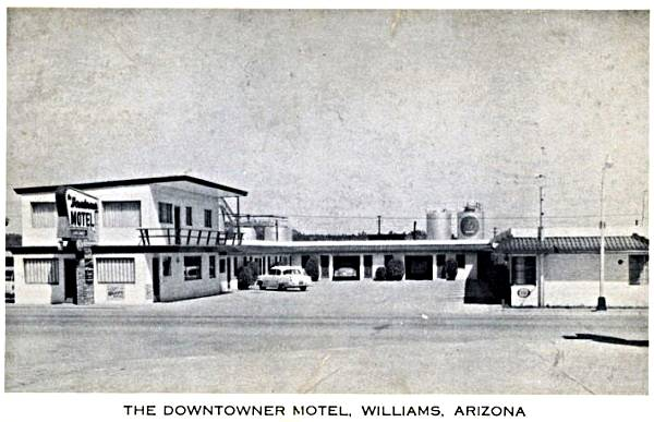 Vintage 1950s postcard of the Downtowner motel in Williams, Route 66, Arizona