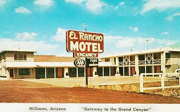 vintage postcard of the El Rancho Motel in Williams, Route 66, Arizona