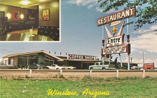 A 1960s postcard of The Entré Restaurant and Cocktail Lounge on Route 66 in Winslow, AZ