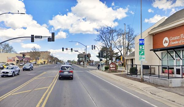 Route 66 in downtown Flagstaff street view, Arizona