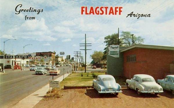 1950s postcard with view of Route 66 downtown, Flagstaff, Arizona