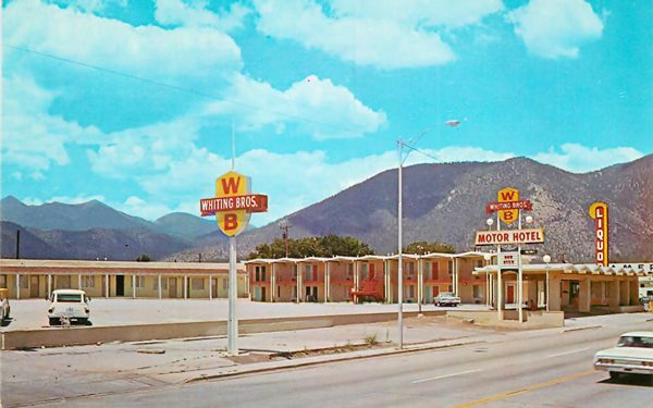 1960s postcard Whiting Bros. motel in Flagstaff