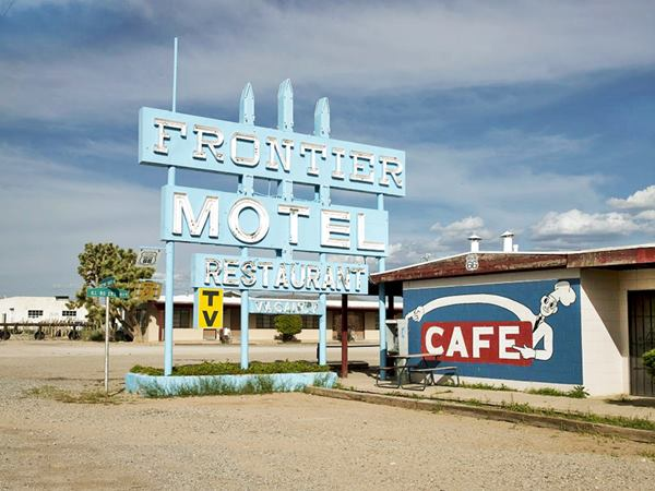 classic sign of the Frontier Motel and Cafe in Truxton, Route 66, Arizona