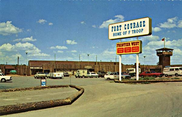 Mid 1960s Postcard view of Fort Courage from TV's F Troop and the Frontier West shopping center. Houck AZ