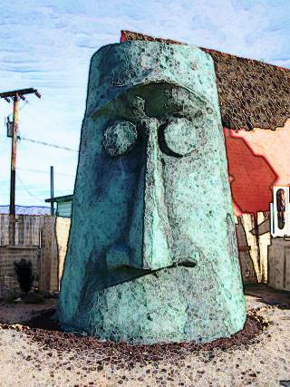 view of the Giant Moai head in Antares, on Route 66, Arizona
