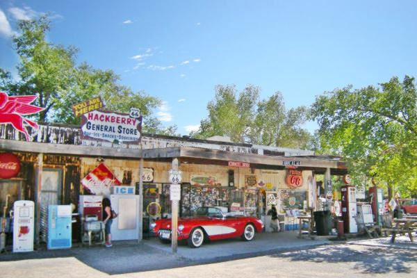 view of the facade of the General Store in Hackberry, on Route 66, Arizona