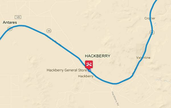 Map of US 66 in Hackberry AZ