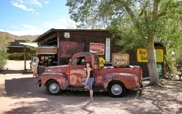 outside the General Store in Hackberry, on Route 66, Arizona