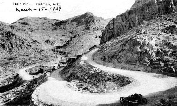 1929 postcard of a hairpin bend on Route 66 in Goldenroad, Arizona