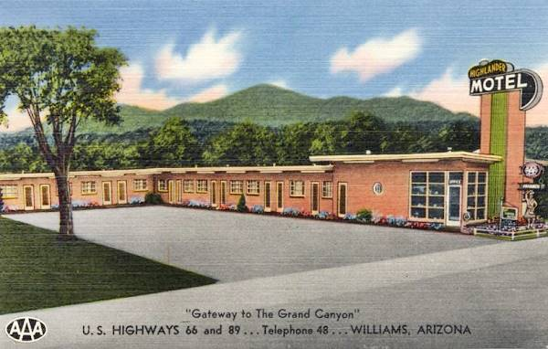 vintage 1950s postcard of the Highlander Motel in Williams, Route 66, Arizona