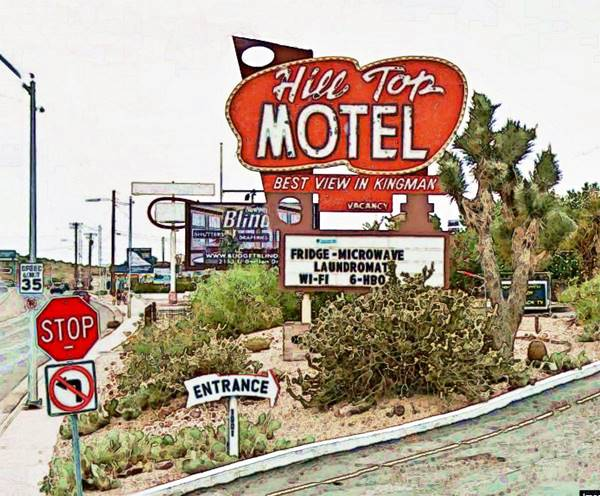 vintage Hill Top Motel sign, Route 66 in Kingman Arizona