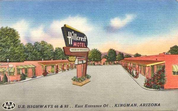 Hill Crest Motel in a 1940s postcard; in Kingman, Route 66, Arizona