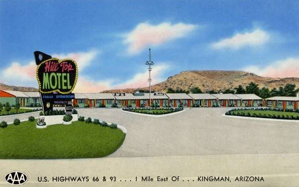 a view of the Hill Top in a 1940s postcard. Kingman, Route 66, Arizona