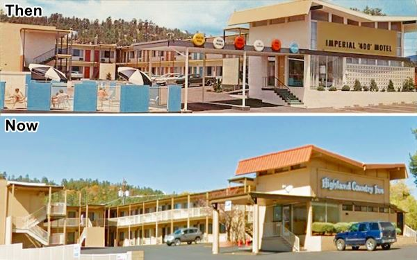 A 1960s and a 2020 view of Imperial 400 motel in Flagstaff