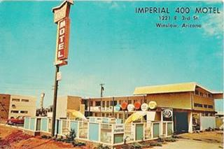 Vintage postcard of the Imperial 400 Motel, in Winslow Arizona