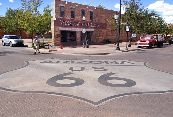 The corner of Standing on a Corner in Winslow, AZ. Route 66