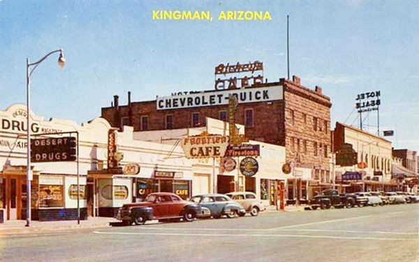 Downtown Kingman and Route 66 in a 1940s postcard. Arizona