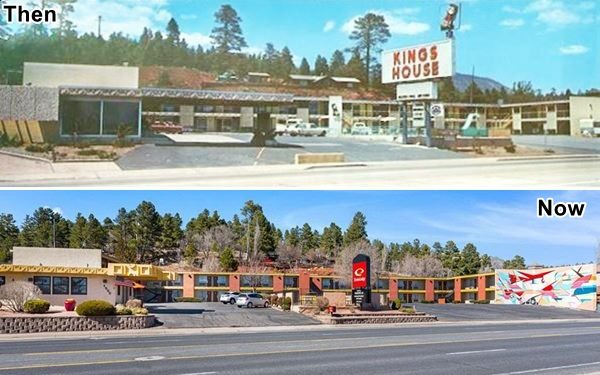 A 1960s and a 2020 view of Kings-House motel in Flagstaff