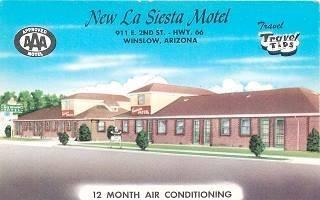 Vintage postcard of the La Siesta motel, in Winslow Arizona