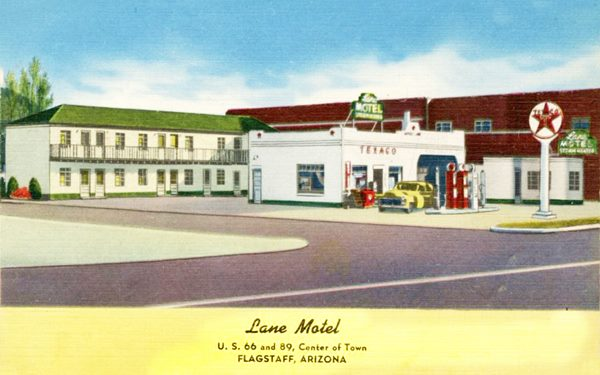 Lane Motel in 1940, a postcard, Flagstaff Route 66, Arizona