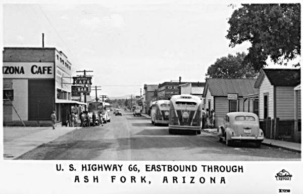 vintage postcard with a view along the Main Street (Route 66) in Ash Fork 1940s, Arizona