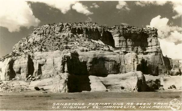 A postcard from ca. 1930s incorrectly placing the Painted Cliffs in Manuelito NM instead of Lupton AZ