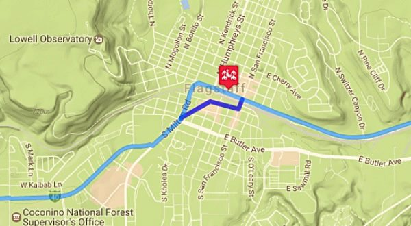 Map of US66 in Flagstaff AZ