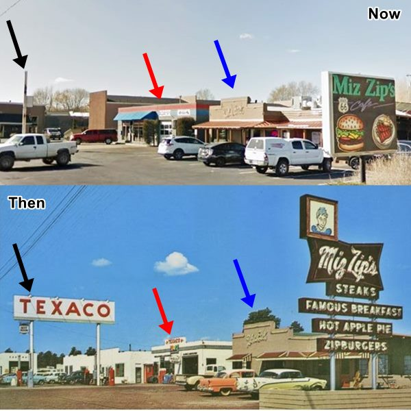 1950 postcard and current view of restaurant and Texaco station