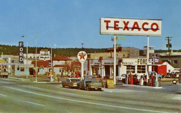 Old Mobil station and Ford service 1950s postcard
