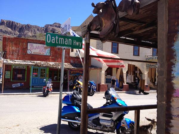 Main Street -Route 66- and the Oatman Hotel in Oatman, Arizona