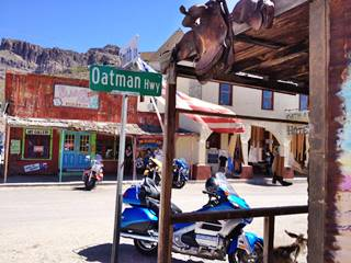 Main Street -Route 66 - and the Oatman Hotel in Oatman,  Arizona
