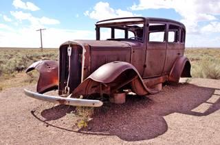 Rusting 1931 Studebaker on Route 66, Holbrook AZ