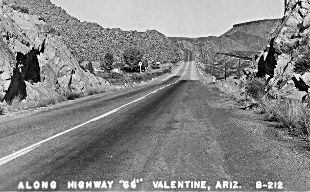 old photo of the Route 66 looking north towards Valentine Arizona